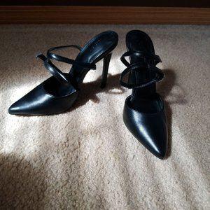 Black matte pointed toe ankle strap heel